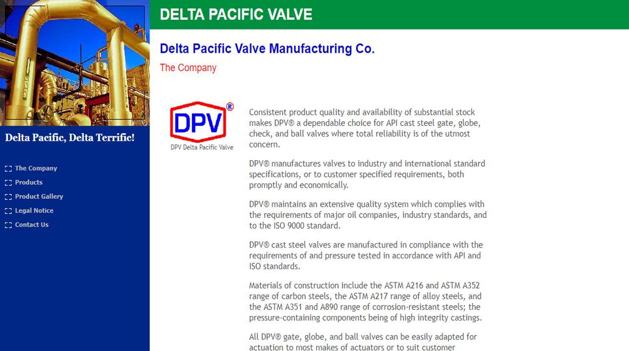 Delta Pacific Valve Mfg. Co.